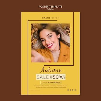 Modello del manifesto per le vendite di sconto di autunno
