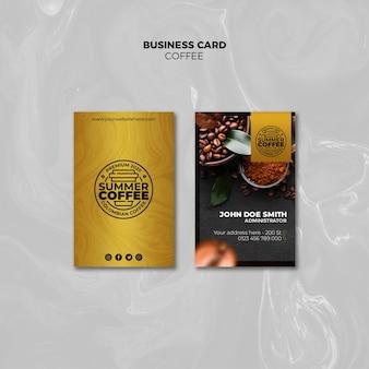 Modello del pacchetto del biglietto da visita della caffetteria