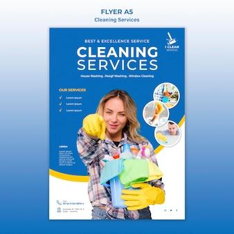Modello dell'aletta di filatoio di concetto di servizio di pulizia
