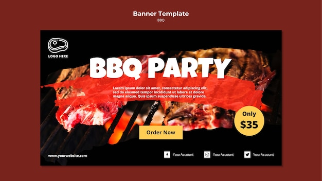 Modello dell'insegna con il concetto del barbecue