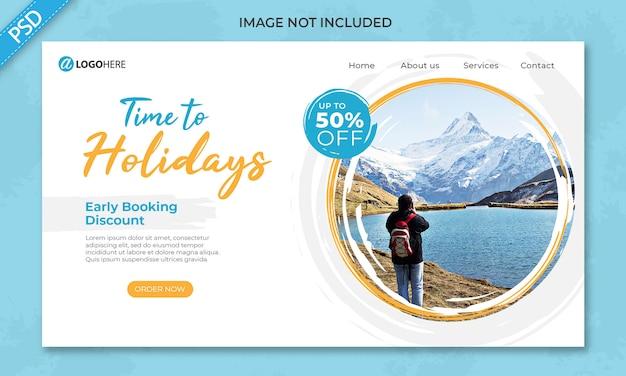 Modello dell'insegna della pagina di destinazione delle vacanze di viaggio