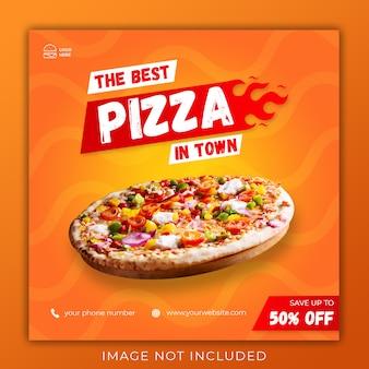 Modello dell'insegna della posta del instagram di media sociali di promozione del menu della pizza