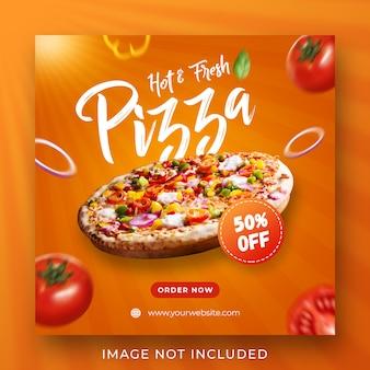 Modello dell'insegna della posta del instagram di promozione del menu dell'alimento della pizza