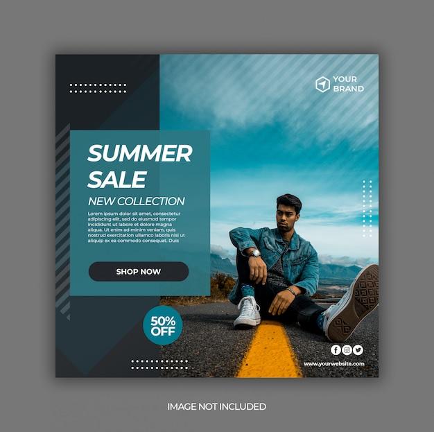 Modello dell'insegna della posta di media sociali di vendita di moda di estate