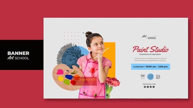 Modello dell'insegna della scuola di arte con la foto