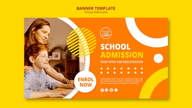 Modello dell'insegna di concetto di ammissione della scuola