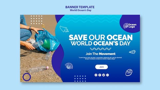 Modello dell'insegna di giornata mondiale degli oceani