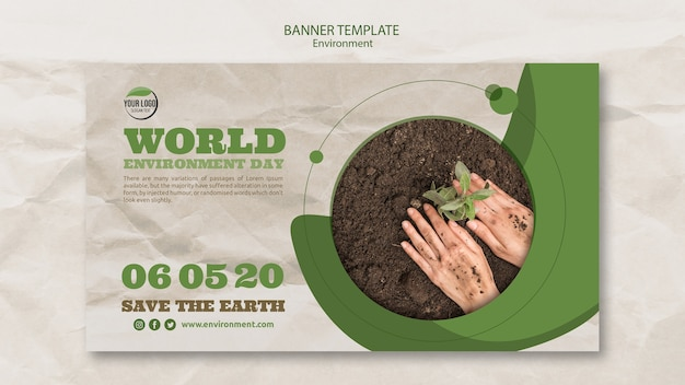 Modello dell'insegna di giornata mondiale dell'ambiente con le mani e la pianta