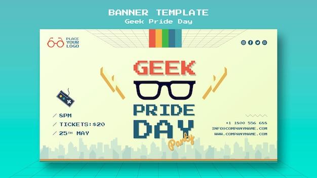 Modello dell'insegna di giorno di orgoglio del geek