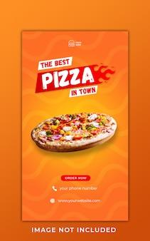 Modello dell'insegna di storie del instagram di promozione del menu dell'alimento della pizza