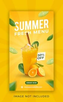 Modello dell'insegna di storie del instagram di promozione del menu della bevanda di estate