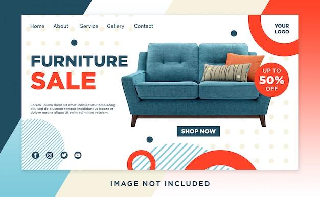 Modello dell'intestazione della pagina di atterraggio di vendita dei mobili