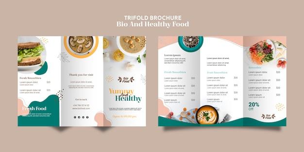 Modello dell'opuscolo con cibo sano