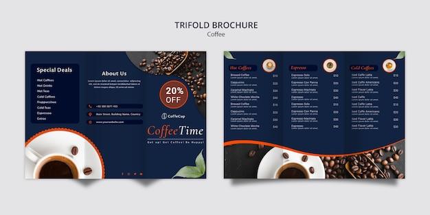 Modello dell'opuscolo con il concetto del caffè