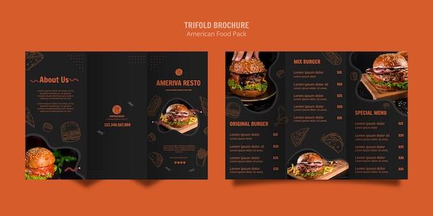 Modello dell'opuscolo con il concetto di cibo americano