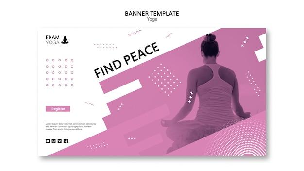 Modello della bandiera con il disegno di yoga