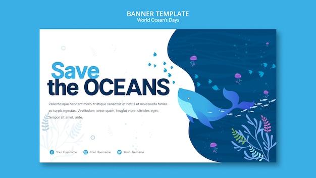 Modello della bandiera con la giornata mondiale dell'oceano