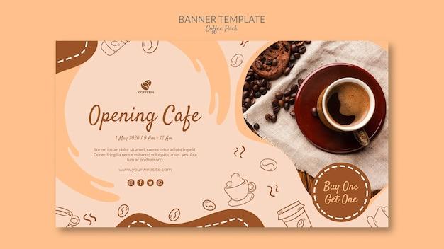 Modello della bandiera del caffè di apertura negozio