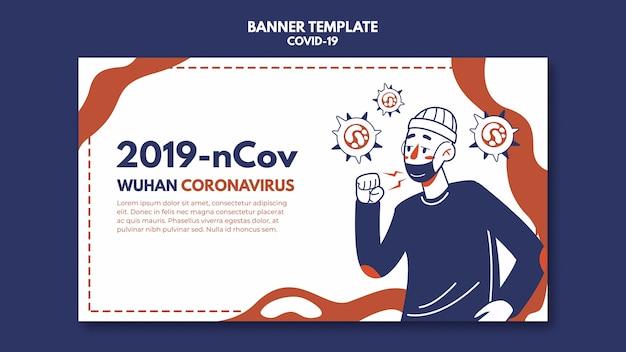 Modello della bandiera del coronavirus di wuhan