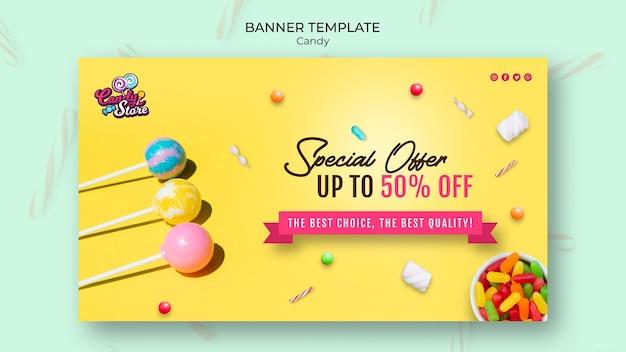 Modello della bandiera del negozio di caramelle di offerta speciale