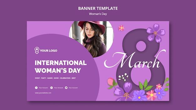 Modello della bandiera della giornata internazionale della donna