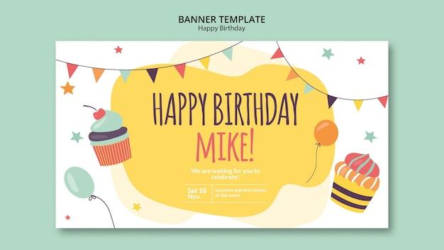 Modello della bandiera di concetto di buon compleanno