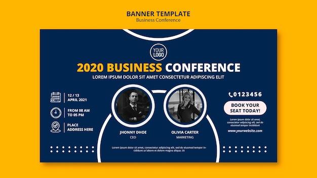 Modello della bandiera di concetto di conferenza d'affari