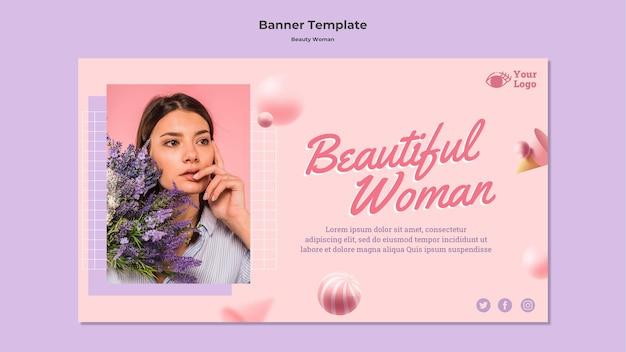 Modello della bandiera di concetto di donna di bellezza