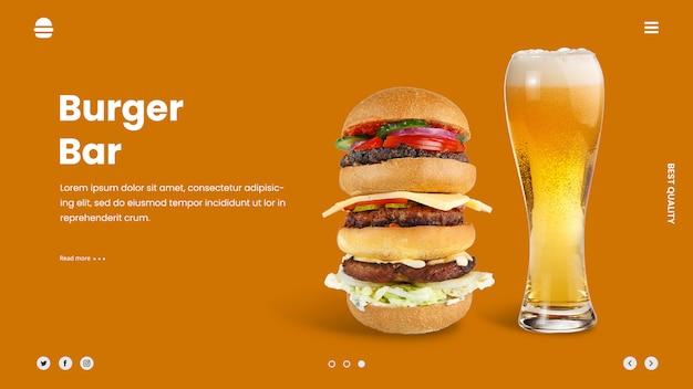 Modello della bandiera di hamburger annuncio birra eroe