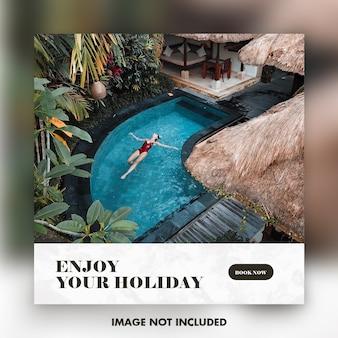 Modello della bandiera di instagram di viaggio o di vacanza