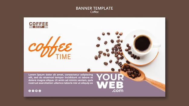 Modello della bandiera di tempo del caffè