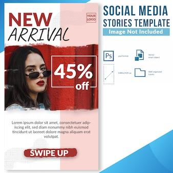 Modello della bandiera di web di storie di media sociali di sconto di vendita di modo di nuovo arrivo