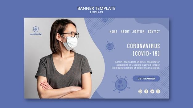 Modello della bandiera pandemica covid-19
