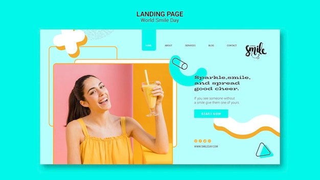Modello della pagina di atterraggio di concetto di giorno di sorriso del mondo