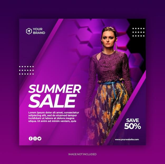 Modello della posta di media sociali dell'insegna di vendita di modo di estate