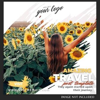 Modello della posta di viaggio di vacanza estiva di instagram