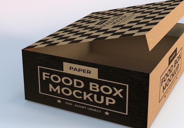 Modello della scatola di imballaggio per alimenti di carta del primo piano