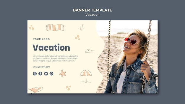 Modello di annuncio banner vacanza