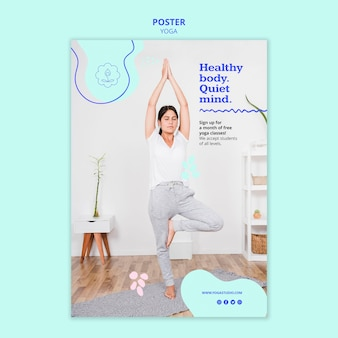 Modello di annuncio di poster yoga