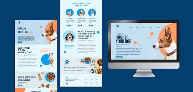 Modello di app e sito web di cibo per cani