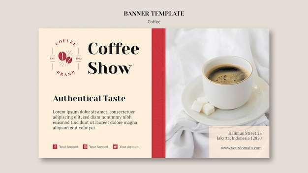 Modello di bandiera creativa caffetteria
