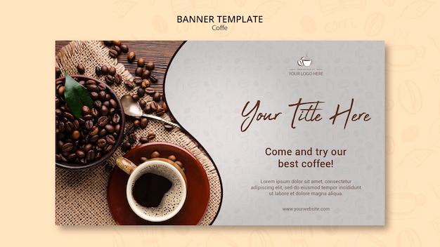 Modello di bandiera del concetto di caffè