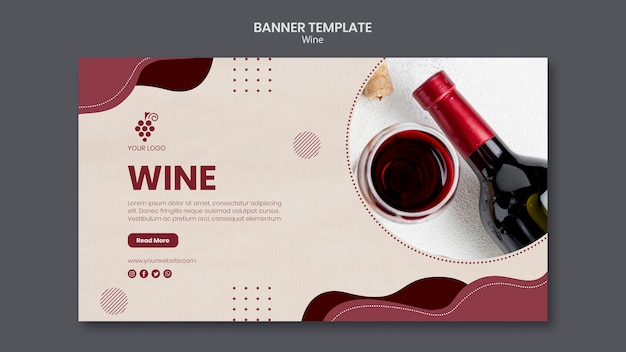 Modello di bandiera del concetto di vino