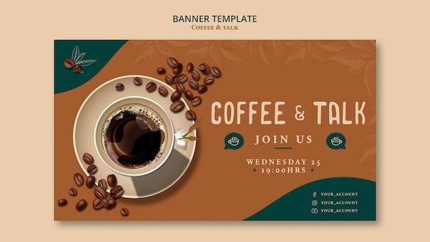 Modello di bandiera di caffè e parlare