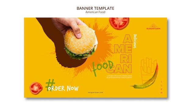 Modello di bandiera di cibo americano