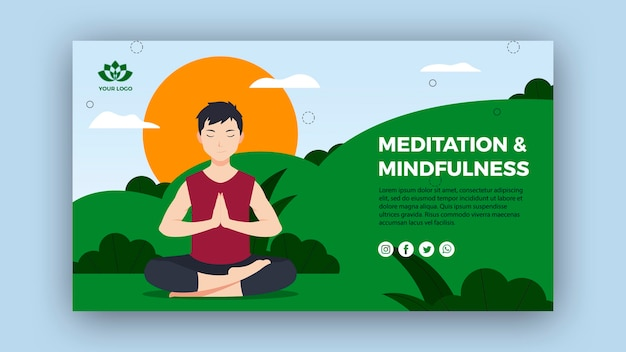 Modello di bandiera di consapevolezza e meditazione