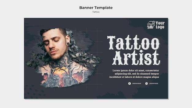 Modello di banner artista del tatuaggio