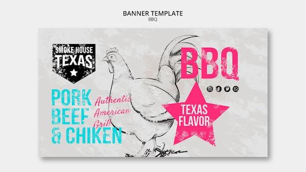 Modello di banner barbecue con pollo