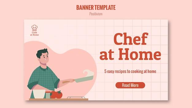 Modello di banner chef a casa