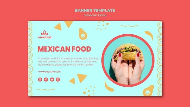 Modello di banner cibo messicano con foto